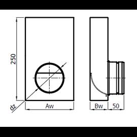 Přechodka – kanál / ohebné potrubí (150 mm x 50 mm, Ø100 mm)