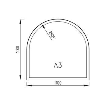 Sklo pod kamna 1000x1000mm, R500, typ A3, fazeta 6mm