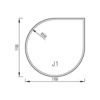 Sklo pod kamna 1100x1100mm, R550, typ J1, fazeta 6mm