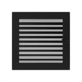 KRATKI ventilační krbová mřížka 22x22 černá se žaluzií