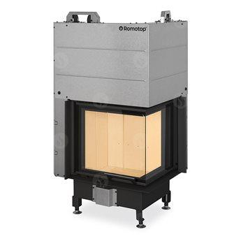 ROMOTOP Heat R/L 3g L 50.51.40.21 - Teplovzdušná rohová krbová vložka s výsuvnými dvířky a děleným sklem