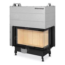 ROMOTOP Heat R/L 3g L 81.51.40.01 - Teplovzdušná rohová krbová vložka s výsuvnými dvířky a ohýbaným sklem