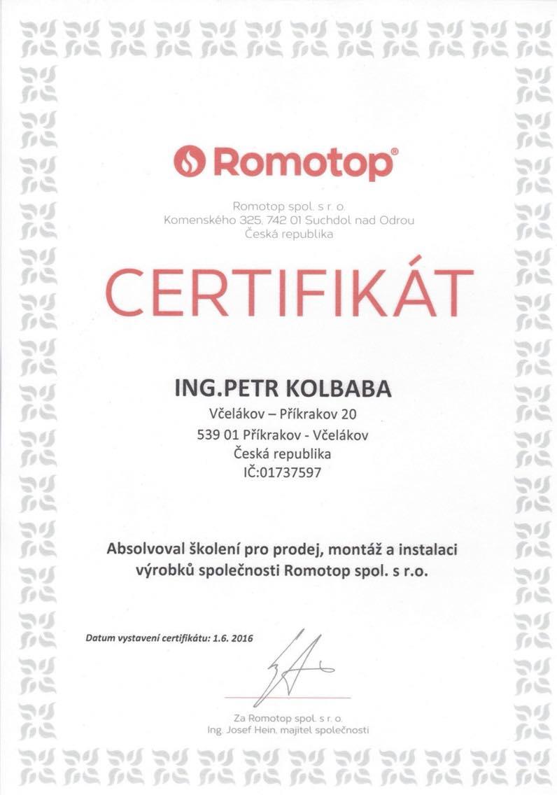Certifikát za absolvování školení pro prodej, montáž a instalaci výrobků společnosti Romotop spol. s.r.o.