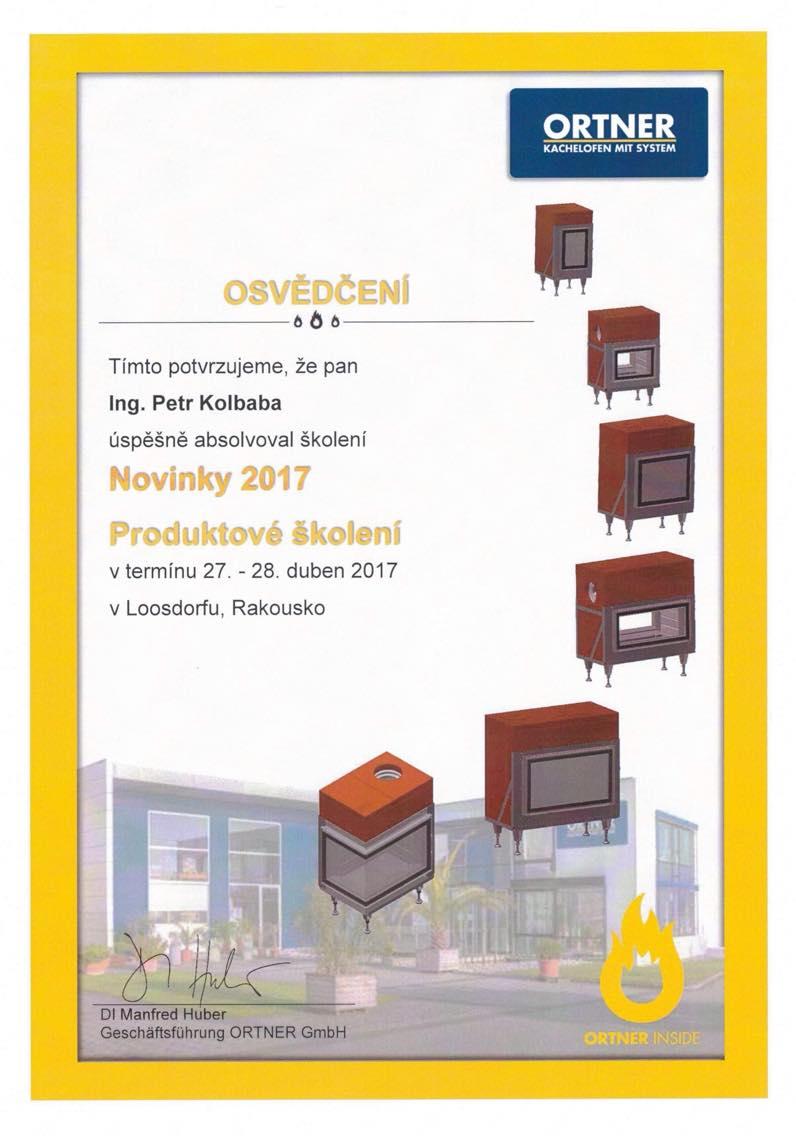 Osvědčení za úspěšné absolvování školení Novinky 2017 - Produktové školení